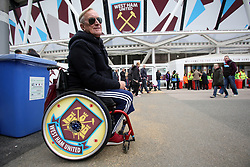 18 March 2017 - Premier League Football - West Ham United v Leicester City<br /> A West Ham fan shows off his decorated wheels<br /> Photo: Charlotte Wilson