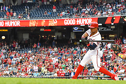May 6, 2018 - Washington, DC, U.S. - WASHINGTON, DC - MAY 06:  Washington Nationals shortstop Wilmer Difo (1) gets the game winning hit in the ninth inning with the bases loaded during the game between the Philadelphia Phillies  and the Washington Nationals on May 6, 2018, at Nationals Park, in Washington D.C.  The Washington Nationals defeated the Philadelphia Phillies, 5-4.  (Photo by Mark Goldman/Icon Sportswire) (Credit Image: © Mark Goldman/Icon SMI via ZUMA Press)