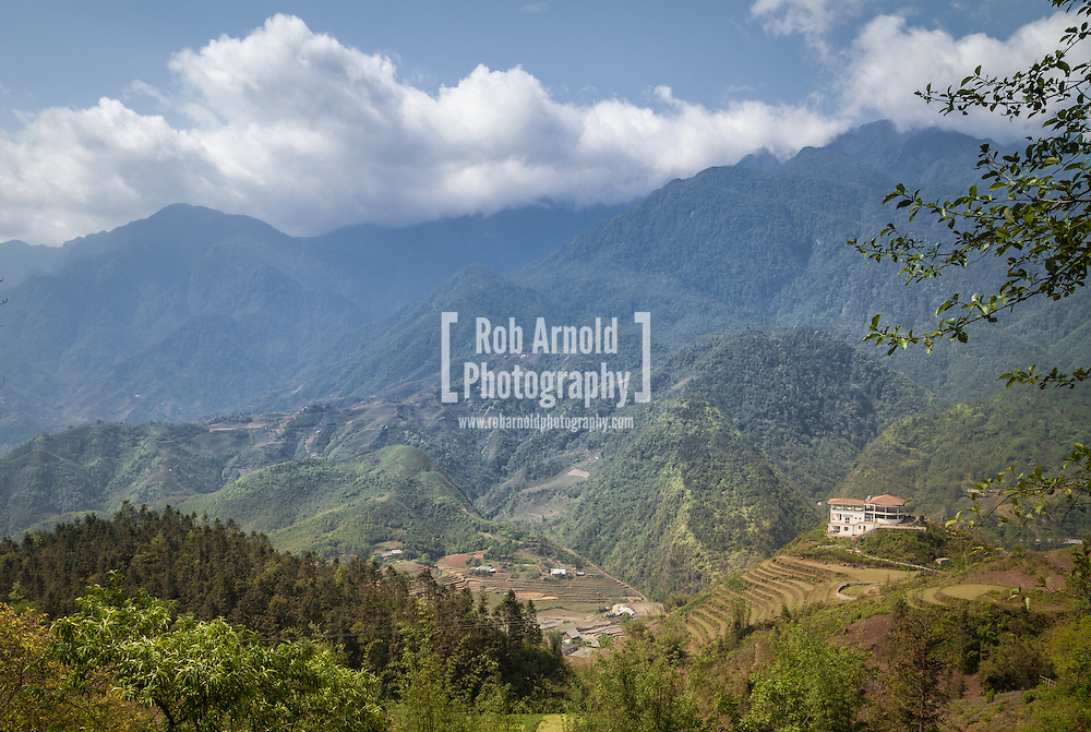 A view of mountains from the market town of Sa Pa in Northern Vietnam