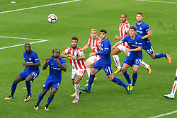 23rd September 2017 - Premier League - Stoke City v Chelsea - Players keep their eye on the ball as it floats into the box - Photo: Simon Stacpoole / Offside.
