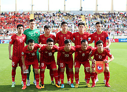 ABU DHABI, Jan. 12, 2019  Starting players of Vietnam pose for photos during the 2019 AFC Asian Cup UAE 2019 group D match between Vietnam and Iran in Abu Dhabi, the United Arab Emirates (UAE), Jan. 12, 2019. Iran won 2-0. (Credit Image: © Xinhua via ZUMA Wire)