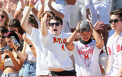 Sep 4, 2021; College Park, Maryland, USA; Maryland Terrapins fans celebrate during the first quarter against the West Virginia Mountaineers at Capital One Field at Maryland Stadium. Mandatory Credit: Ben Queen-USA TODAY Sports