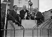 The President lays the foundation stone of the new Abbey Theatre, on the site of the old theatre which burned down. On the left is the architect Mr Michael Scott. <br /> 03.09.1963
