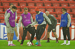 21.10.2014, Anfild, Liverpool, ESP, UEFA CL, FC Liverpool vs Real Madrid, Gruppe B, Training FC Liverpool, im Bild Liverpool's Emre Can, Rickie Lambert and Mario Balotelli // during training session of Liverpool FC ahead of the UEFA Champions League Group B match between Liverpool FC and Real Madrid CF at Anfild in Liverpool, Great Britain on 2014/10/21. EXPA Pictures © 2014, PhotoCredit: EXPA/ Propagandaphoto/ David Rawcliffe<br /> <br /> *****ATTENTION - OUT of ENG, GBR*****