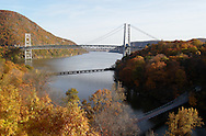 Fort Montgomery, NY - A view of the Bear Mountain Bridge and the Hudson River on Nov. 2, 2008. The pedestrian footbridge over Popolopen Creek is visible at the lower right.