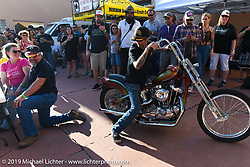 JP Rodman with the custom Ironhead Sportster chopper he built to raffle off at the Run to Raton. Raton, NM. USA. Saturday July 21, 2018. Photography ©2018 Michael Lichter.