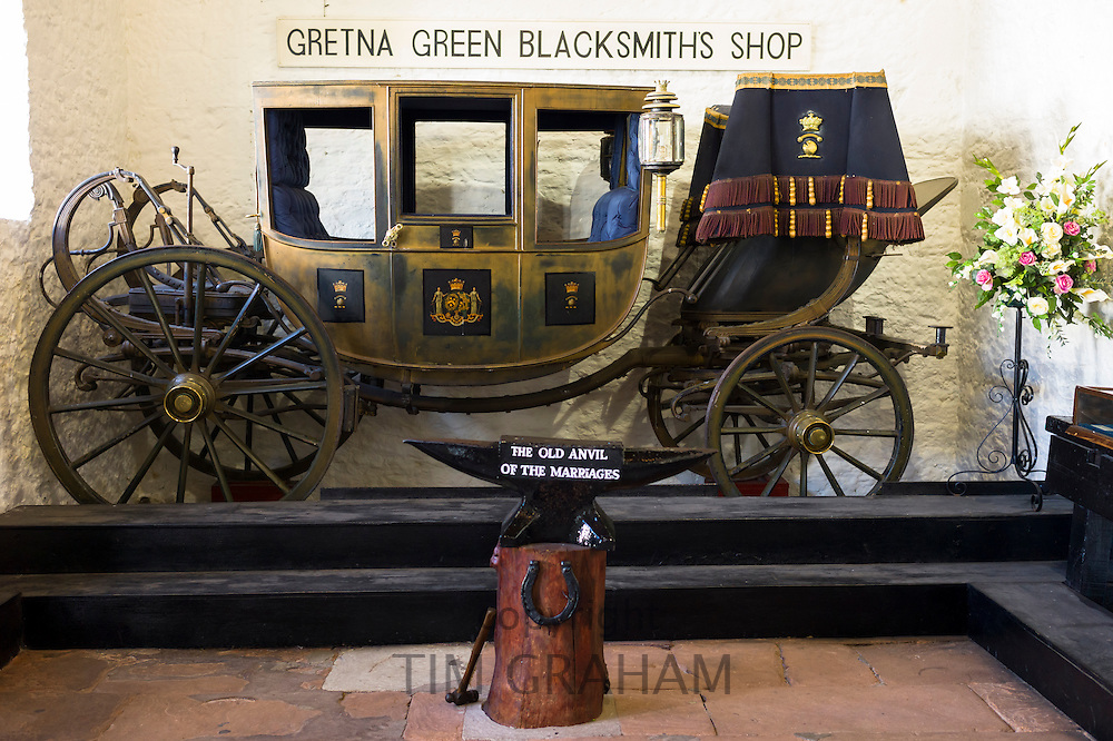 Famous Gretna Green Blacksmith's Shop used for eloping couples and weddings under Scottish licence on the border of Scotland