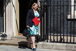 London, UK. 23 July, 2019. Karen Bradley MP, Secretary of State for Northern Ireland, leaves 10 Downing Street following the final Cabinet meeting of Theresa May's Premiership. The name of the new Conservative Party Leader, and so the new Prime Minister, is to be announced at a special event afterwards.
