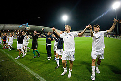 Florian Stahel and Admir Mehmedi (R) and Players of Zurich celebrate after Third Round of Champions League qualifications football match between NK Maribor and FC Zurich,  on August 05, 2009, in Ljudski vrt , Maribor, Slovenia. Zurich won 3:0 and qualified to next Round. (Photo by Vid Ponikvar / Sportida)