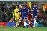 Eden Hazard of Chelsea is chased by Jordan Henderson of Liverpool. Premier League match, Liverpool v Chelsea at the Anfield stadium in Liverpool, Merseyside on Saturday 25th November 2017.<br /> pic by Chris Stading, Andrew Orchard sports photography.