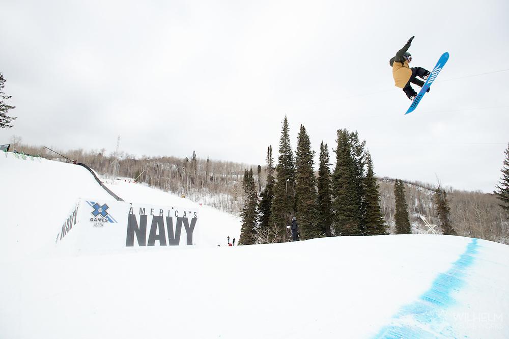 Jamie Anderson during Women's Snowboard Slopestyle Finals during 2015 X Games Aspen at Buttermilk Mountain in Aspen, CO. ©Brett Wilhelm/ESPN