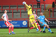 Cheltenham Town Goalkeeper Josh Griffiths(20) makes a save during the EFL Sky Bet League 2 match between Stevenage and Cheltenham Town at the Lamex Stadium, Stevenage, England on 20 April 2021.