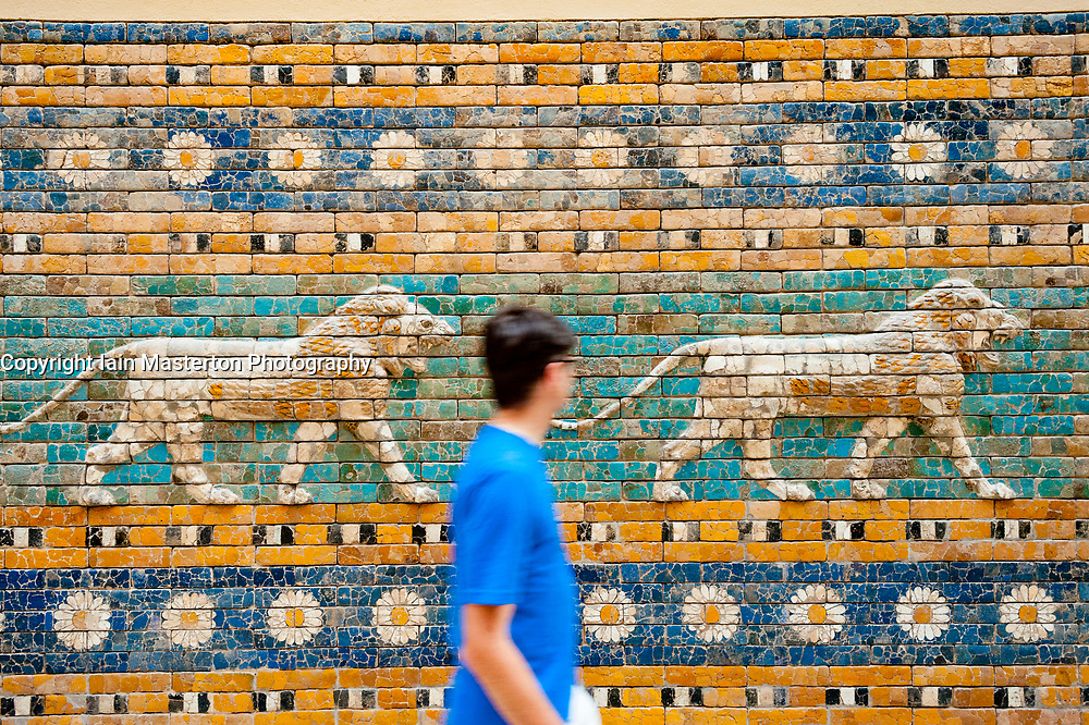 Ceramic tiles showing lions on Processional Way at Ishtar Gate in Pergamon Museum, Museumsinsel, Berlin, Germany