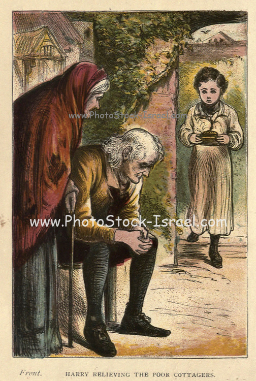 Harry relieving the poor cottagers From the Book ' The history of Sandford and Merton ' by Thomas Day, 1748-1789; with original illustrations printed in colours by Edward and George Dalziel,