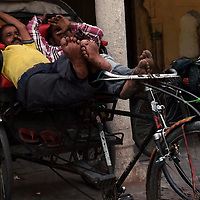 Rickshaw pedalers grab a nap in between customers in Jaipur, India.<br /> Photo by Shmuel Thaler <br /> shmuel_thaler@yahoo.com www.shmuelthaler.com