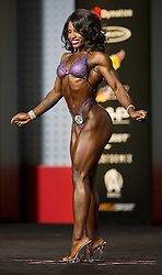 Sept.16, 2016 - Las Vegas, Nevada, U.S. -  CYDNEY GILLON competes in the Figure Olympia contest during Joe Weider's Olympia Fitness and Performance Weekend.(Credit Image: © Brian Cahn via ZUMA Wire)