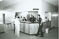 1979 Front desk at the temporary police station on Fountain Ave.