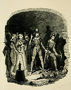 Guy Fawkes and his fellow conspirators alarmed while digging the mine under the House of Lords, From the book ' Guy Fawkes; or, The gunpowder treason. An historical romance ' by William Harrison Ainsworth, with illustrations on steel by  George Cruikshank. Published in London, by George Routledge and sons, limited in 1841. Guy Fawkes (13 April 1570 – 31 January 1606), also known as Guido Fawkes while fighting for the Spanish, was a member of a group of provincial English Catholics who was involved in the failed Gunpowder Plot of 1605. He was born and educated in York; his father died when Fawkes was eight years old, after which his mother married a recusant Catholic.