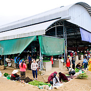 The outside of the morning market building in Sam Neua (also spelled Samneua, Xamneua and Xam Neua) in northeastern Laos.