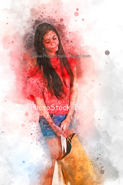 Digitally enhanced image of a Tired young female Shopper