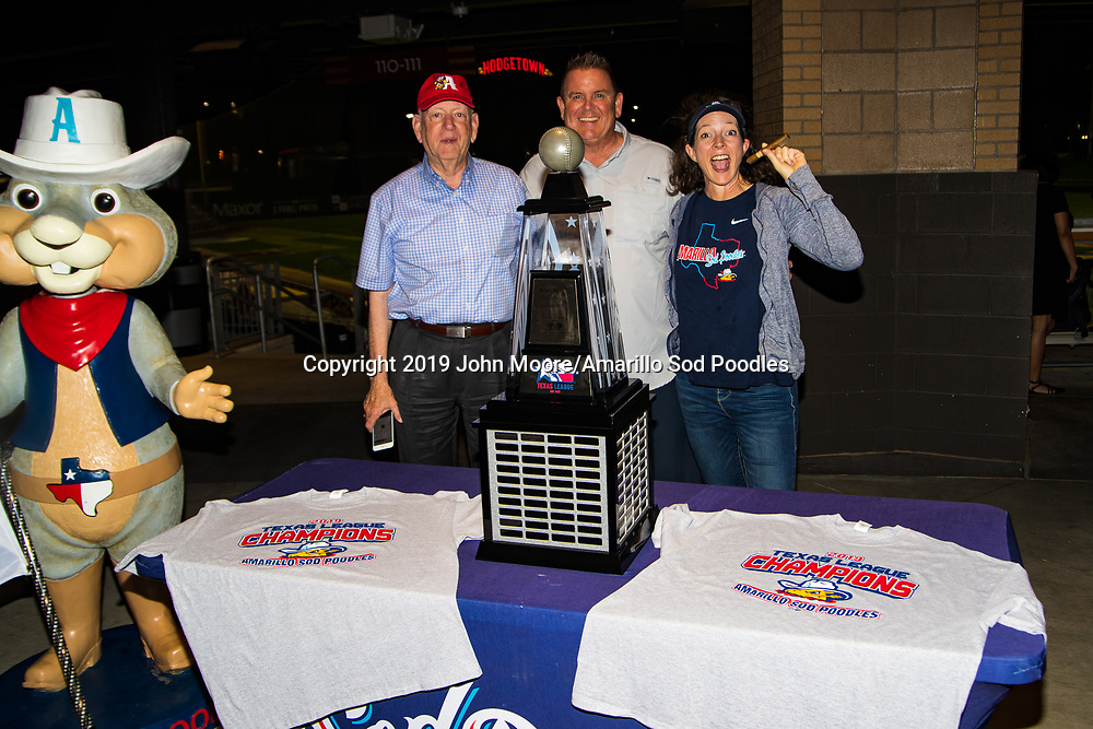 The Amarillo Sod Poodles held a homecoming celebration after the Sod Poodles won the Texas League Championship early on Monday, Sept. 16, 2019, at HODGETOWN in Amarillo, Texas. [Photo by John Moore/Amarillo Sod Poodles]
