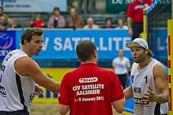 08-01-2011 VOLLEYBAL: CEV SATELLITE INDOOR BEACHVOLLEYBALL: AALSMEER<br /> The first CEV Indoor beachvolleyball tournament / Oivind Hordvik (L), Iver Andreas Horrem NOR<br /> ©2011-WWW.FOTOHOOGENDOORN.NL / Peter Schalk