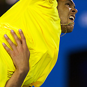 Jo-Wilfried Tsonga of France in action during the Men's Quarter FInals at the Australian Tennis Open on January 28, 2009 in Melbourne, Australia. Photo Tim Clayton    .