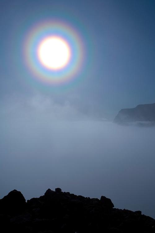 Solar halo over Laitaure delta at dawn, Sarek National Park, Laponia World Heritage Site, Sweden