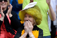 Fans celebrate during the FA Vase match between Hereford FC  and Morpeth Town at Wembley Stadium, London, England on 22 May 2016. Photo by Dennis Goodwin.
