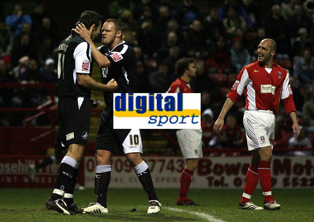 Photo: Paul Thomas.<br /> Rotherham United v Swansea City. Coca Cola League 2. 27/02/2007.<br /> <br /> Goal scorer Pawel Abbott (L) of Swansea celebrates with Lee Trundle.