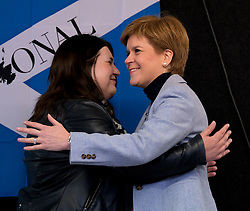 Independence Rally, Glasgow, Saturday 2nd November 2019<br /> <br /> Pictured: Leader of Glasgow City Council Susan Aitken greets First Minister Nicola Sturgeon to the stage<br /> <br /> Alex Todd | Edinburgh Elite media