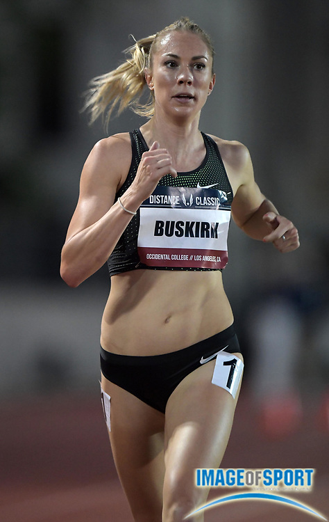 May 17, 2018; Los Angeles, CA, USA; Kate Van Buskirk places third in the women's 5,000m in 15:30.94 during the USATF Distance Classic at Occidental College.