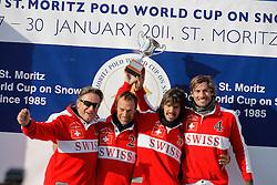 Team Switzerland : 1. Philipp Maeder, 2. Frederico Bachmann, 3. Bautista Ortiz de Urbina, 4. Augustin Martinez<br /> Match Germany - Switzerland<br /> St.Moritz Polo World Cup On Snow 2011<br /> © Dirk Caremans