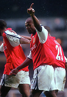 Sylvian Wiltord celebrates scoring the 3rd Arsenal goal . Arsenal v Manchester City, F.A.Carling Premiership, 28/10/2000. Credit Colorsport / Paul Roberts