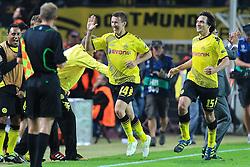 13.09.2011, Signal Iduna Park, Dortmund, GER, UEFA CL, Gruppe F, Borussia Dortmund (GER) vs Arsenal London (ENG), im Bild.Torjubel / Jubel  nach dem 1:1 durch Ivan Perisic (Dortmund #14) (L)  mit Mats Hummels (Dortmund #15) (R) ..// during the UEFA CL, group F, Borussia Dortmund (GER) vs Arsenal London on 2011/09/13, at Signal Iduna Park, Dortmund, Germany. EXPA Pictures © 2011, PhotoCredit: EXPA/ nph/  Mueller       ****** out of GER / CRO  / BEL ******