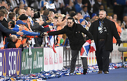Aiyawatt Srivaddhanaprabha, son of Leicester City chairman, Vichai Srivaddhanaprabha greets the fans after the final whistle during the Premier League match at the King Power Stadium, Leicester.