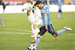 March 11, 2018 - New York, New York, United States - David Villa (7) of NYC FC kicks ball during regular MLS game against LA Galaxy at Yankee stadium NYC FC won 2 - 1 (Credit Image: © Lev Radin/Pacific Press via ZUMA Wire)