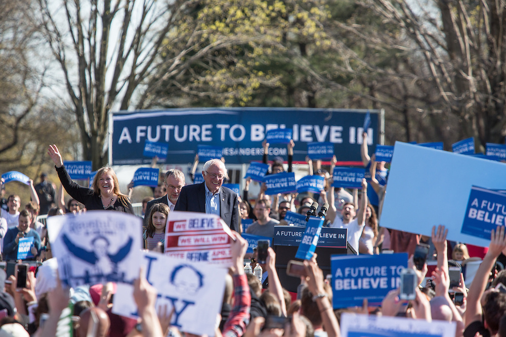 "Brooklyn, NY - 17 April 2016. Vermont Senator Bernie Sanders came to the stage with his wife Jane. Sanders, who is running as a Democrat in the U.S. Presidential primary elections, held a campaign ""get out the  vote"" rally in Brooklyn's Prospect Park."