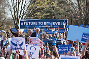 """Brooklyn, NY - 17 April 2016. Vermont Senator Bernie Sanders came to the stage with his wife Jane. Sanders, who is running as a Democrat in the U.S. Presidential primary elections, held a campaign """"get out the  vote"""" rally in Brooklyn's Prospect Park."""