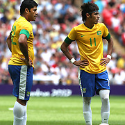 Neymar, (right) and Hulk, (Brazil), in action during the Brazil V Mexico Gold Medal Men's Football match at Wembley Stadium during the London 2012 Olympic games. London, UK. 11th August 2012. Photo Tim Clayton
