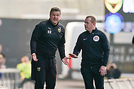 Oxford United manager Karl Robinson frustrated on the sideline during the EFL Sky Bet League 1 match between Oxford United and Wycombe Wanderers at the Kassam Stadium, Oxford, England on 30 March 2019.