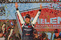 November 10, 2018 - PHOENIX, AZ - NOVEMBER 10: Christopher Bell, driver of the #20 GameStop Just Cause 4 Toyota in victory lane after winning the NASCAR Xfinity Whelen Trusted to Perform 200 at ISM Raceway on November 10, 2018 in Phoenix, Arizona. (Credit Image: © Doug James/ZUMA Wire)
