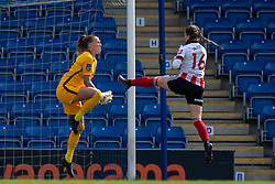 CHESTERFIELD, ENGLAND - Sunday, April 25, 2021: Liverpool's goalkeeper Rylee Foster (L) makes a save from Sheffield United's substitute Lucy Watson during the FA Women's Championship game between Sheffield United FC Women and Liverpool FC Women at the Technique Stadium. Liverpool won 1-0. (Pic by David Rawcliffe/Propaganda)