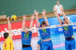 Jovica Simovski #9 of FYR Macedonia, Matija Jereb #19, Danijel Koncilja #11 and Klemen Cebulj #18 of Slovenia during volleyball match between National Teams of Slovenia and FRY Macedonia of 2014 CEV Volleyball European League Man - Pool B, on July 5, 2014, in Arena Ljudski vrt Lukna, Maribor, Slovenia, Slovenia. Photo by Urban Urbanc / Sportida