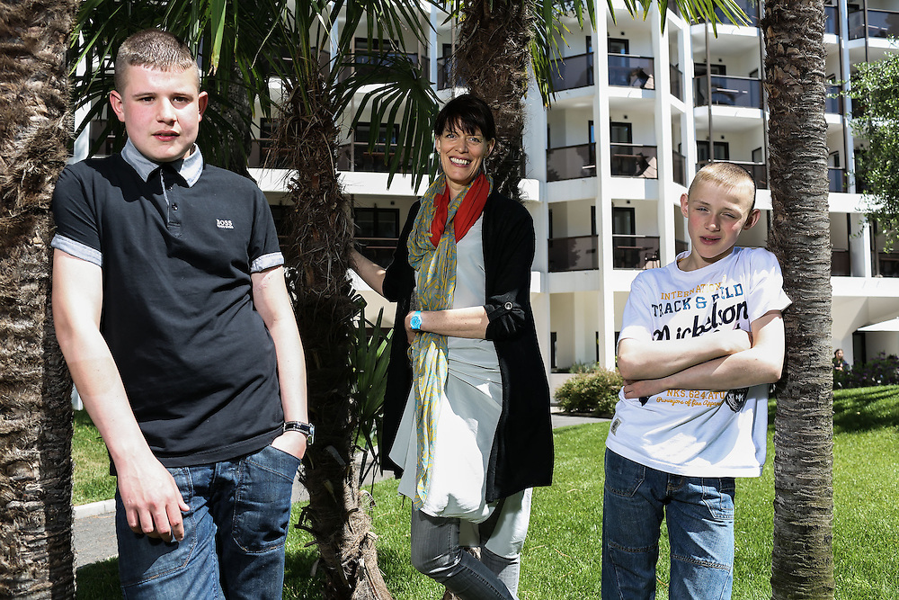 Actor Shaun Thomas (R), Director Clio Barnard (M) &  Conner Chapman 'The Selfish Giant'  poses for a shoot at the 66th international film festival, in Cannes, southern France, Thursday, May 17 2013. .Photo Ki Price