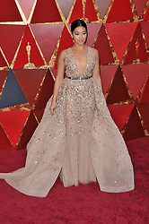 Gina Rodriguez  walking on the red carpet during the 90th Academy Awards ceremony, presented by the Academy of Motion Picture Arts and Sciences, held at the Dolby Theatre in Hollywood, California on March 4, 2018. (Photo by Sthanlee Mirador/Sipa USA)