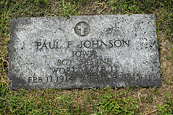 31 August 2017:   Veterans graves in Park Hill Cemetery in eastern McLean County.<br /> <br /> Paul F Johnson Iowa Sergeant 383 INF World War I Feb 11 1914  April 9 1945