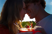 Ad Campaign: Couple toasting with drinks at Grajagan Resort, Ilha do Mel, Brazil