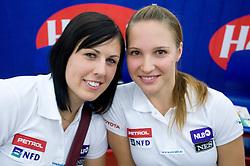 Katja Jazbec and Mateja Robnik of Slovenian National team at press conference before new alpine ski season 2009/2010,  on October 19, 2009, in BTC, Ljubljana, Slovenia.   (Photo by Vid Ponikvar / Sportida)