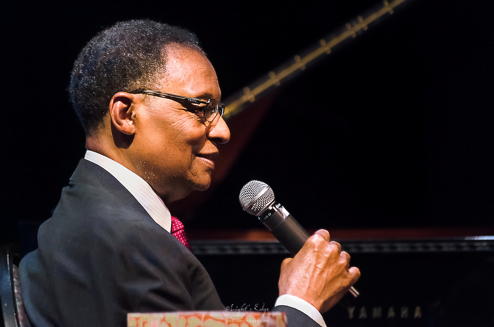 Ramsey Lewis engaging with the audience during a question and answer portion of his show at SOPAC in South Orange, NJ.
